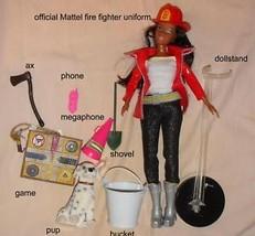 Firefighter Barbie AA doll ornament OOAK ensemble w pup - $39.99