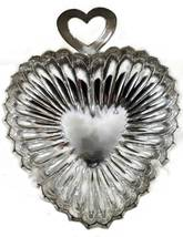 Silver Rodium Plated Vintage Ruffled Heart Serv... - $11.99