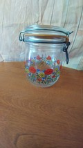 Vintage French Jar with Flower Design Wire Bail... - $8.90