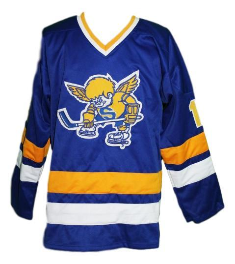 Boudreau  19 minnesota fighting saints retro hockey jersey blue   1