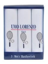 Men's White Embroidered Tennis Racket Handkerchiefs - $9.89+