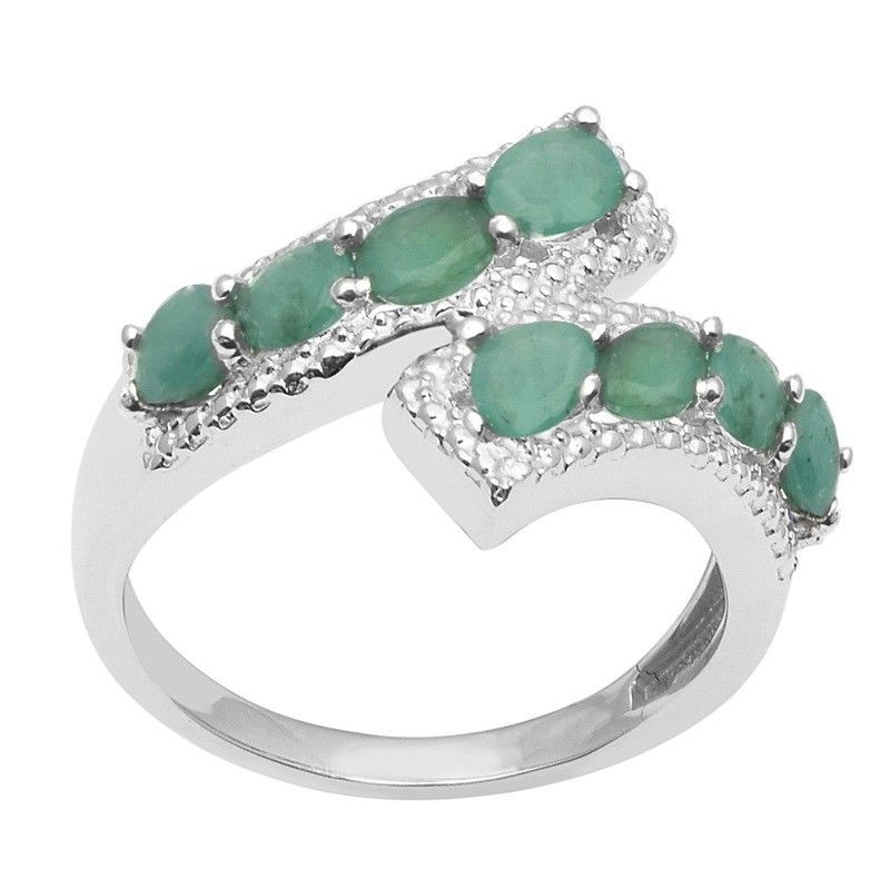 Attractive Emerald Stone Sterling Silver Women's Ring Jewelry Size-8 SHRI1487