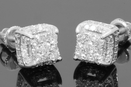 14k White Gold Plated 925 Sterling Silver Round Cut Diamond Womens Stud Earrings - $76.52