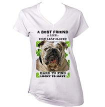 British Bulldog Best Friend   New Cotton Graphic White T Shirt Large Size - $22.49