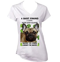 French Bulldog 3 Best Friend   New Cotton Graphic White T Shirt Large Size - $22.49