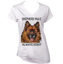 German Shepherd Always Right   New Cotton Graphic White T Shirt Large Size - $22.49