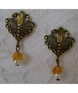 Earrings, Post, Dangle, Vintage Filigree Style, Goldtone, Elegant - $14.00