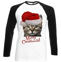 MERRY CHRISTMAS SANTA CAT - Black Sleeved Baseball T-Shirt Small Size [A... - $23.99
