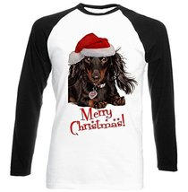Merry Christmas Dachshund Black Long  Black Sleeved Baseball T Shirt Large Size - $23.99