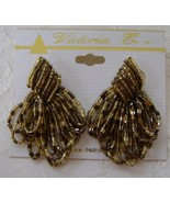 Earrings, Post, Unique Brown and Gold Beaded, New - $13.00