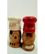 Wooden Salt and Pepper Shakers, White Hat Chef, Red Hat Lady Pepper - $19.99