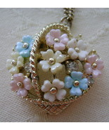 Charm, Flower Basket on 15 Inch Goldtone Chain - $6.00