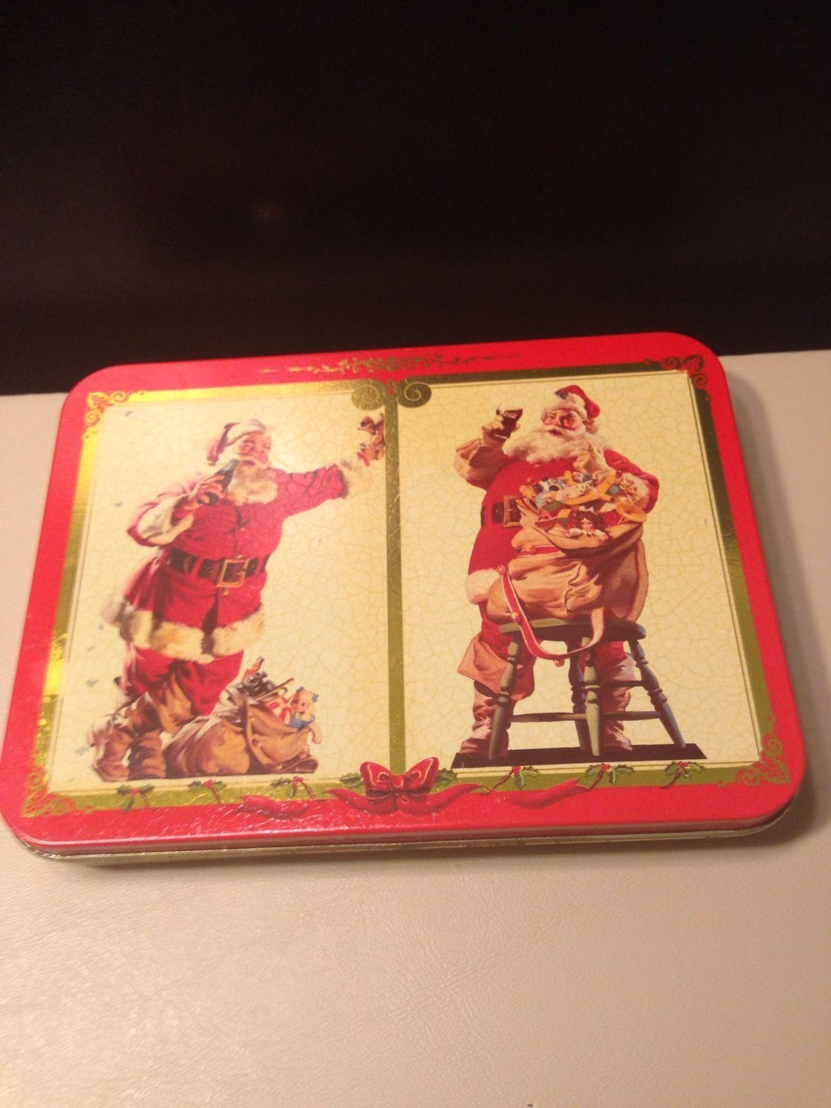 Vintage Coca Cola 1994 Limited Tin Christmas Holiday Santa Playing Cards Bicycle