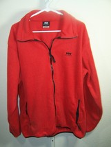 Helly Hansen mens XL red fleece jacket full zip front two zip pockets no... - $17.99
