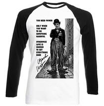 Charlie Chaplin Love Quote   New Graphic Black Sleeved Baseball T Shirt Mediu... - $23.99