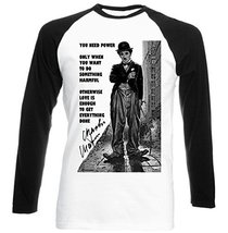 Charlie Chaplin Love Quote   New Graphic Black Sleeved Baseball T Shirt Large... - $23.99