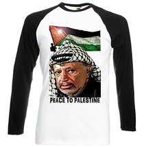 Arafat Leader Peace To Palestine   New Graphic Black Sleeved Baseball T Shirt... - $23.99