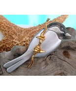 Chickadee Bird Figural Pin Brooch Mark Shields Pewter Gold - $18.95