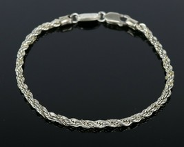 Sterling Silver .925 Signed OR Heart Rope Chain w/ 14k Gold Strand Brace... - $28.26
