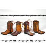 Set of 4 Country Western Boot Christmas Ornaments - $19.98