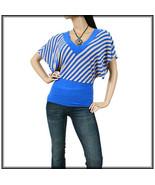 Women's Have Trendy Top Blue Tan Striped Sz L - $9.99