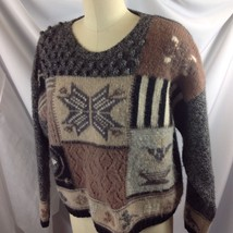 Vtg Eddie Bauer Nordic Snowflake Wool Sweater Knobby Patch Dinosaur Black Tan - $39.11