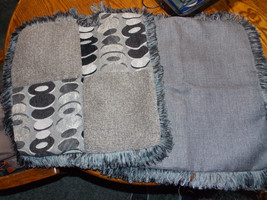 Pair of Gray Black Abstract Print Fringed Decorative Throw Pillows  20 x 20 - $59.95