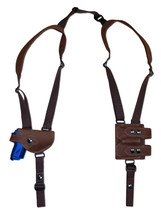 NEW Brown Leather Shoulder Holster w/Dbl Mag Pouch Astra, AMT, CZ Mini-Pocket - $104.99