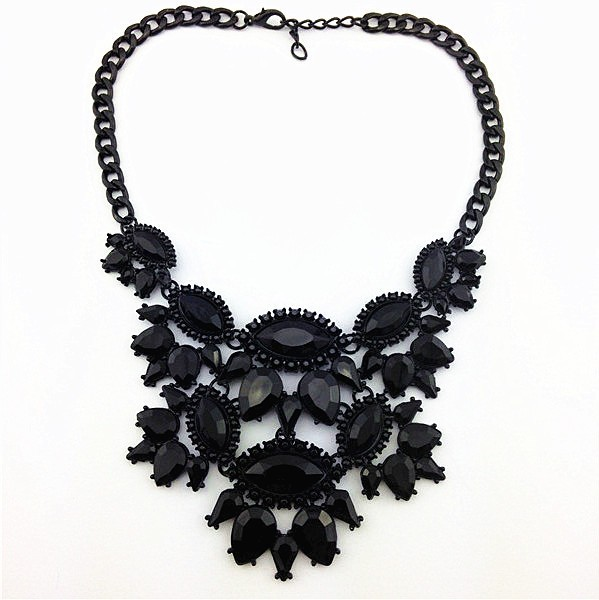 Black Unique Eye Drop Rhinestone Statement Necklace Thick Clavicle Chain Fashion image 1