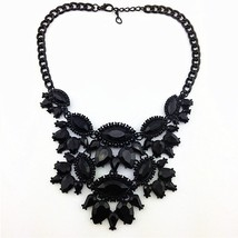 Black Unique Eye Drop Rhinestone Statement Necklace Thick Clavicle Chain... - $22.99