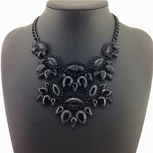 Black Unique Eye Drop Rhinestone Statement Necklace Thick Clavicle Chain Fashion image 2