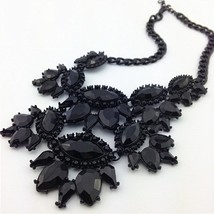 Black Unique Eye Drop Rhinestone Statement Necklace Thick Clavicle Chain Fashion image 3