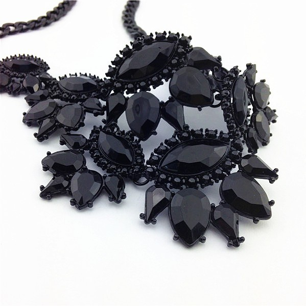 Black Unique Eye Drop Rhinestone Statement Necklace Thick Clavicle Chain Fashion image 4