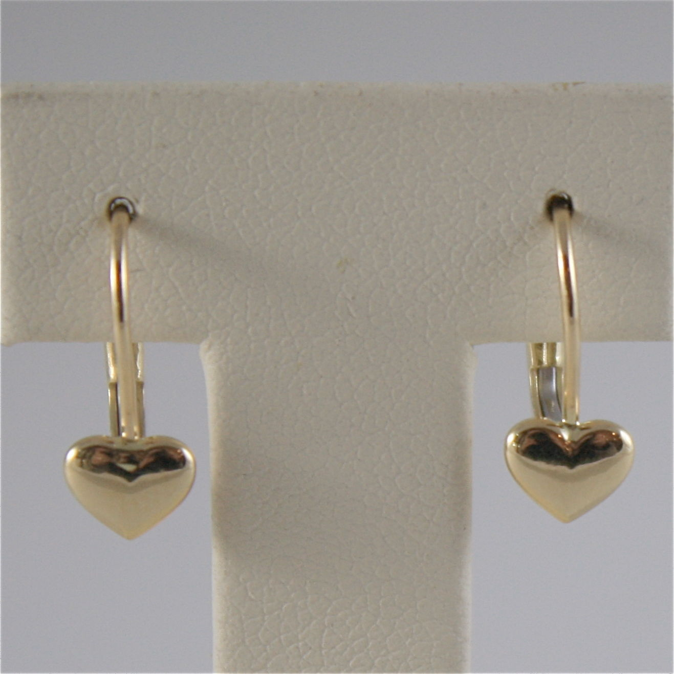 SOLID 18K YELLOW GOLD PENDANT EARRINGS WITH HEARTS, LEVERBACK, MADE IN ITALY