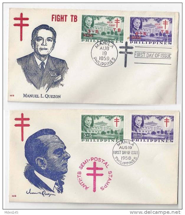 Primary image for 2 Philippines FDC 1958 1959 SC# B8 B9 B12 B13 Fight TB Quezon Cachet Covers