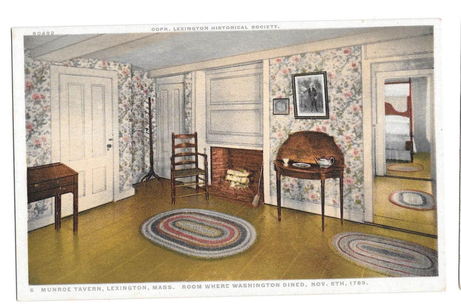MA Lexington Munroe Tavern Washington Dining Room Vtg Phostint Postcard