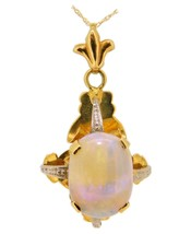 18k Oval Genuine Natural Opal with 14k Chain (#J3908) - $617.50