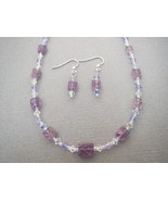 Light Carved Amethyst Necklace Earrings Swarov... - $41.40