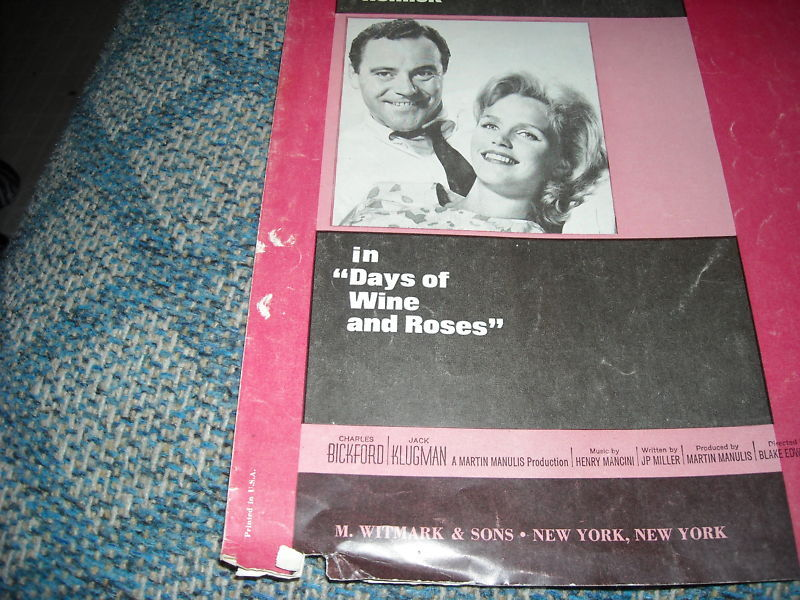 Days of Wine & Roses Vintage 1962 Song Remmick Lemmon Mancini Mercer Sheet Music