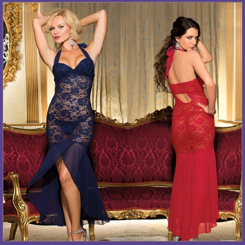 Long Sequined Chiffon Floral Red or Navy Lace Lingerie Halter Gown
