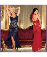 Long Sequined Chiffon Floral Red or Navy Lace Lingerie Halter Gown - $49.95