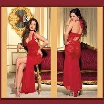 Long Sequined Chiffon Floral Red or Navy Lace Lingerie Halter Gown image 2