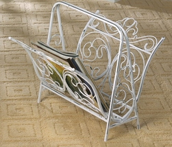 MAGAZINE RACK White Wrought iron flourishes distressed vintage style .  - $44.95