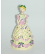 Trinket Box Victorian Lady Yellow and Pink - $5.00