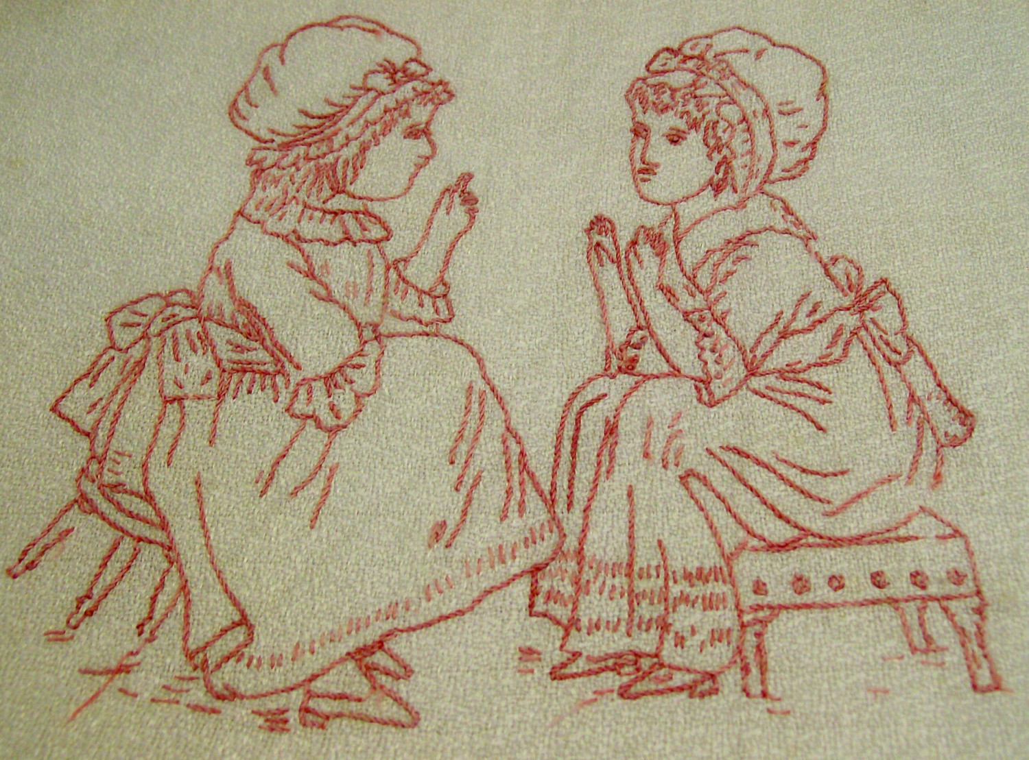 Victorian Children transfer redwork Greenaway Briggs
