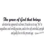 Titus 2:11-12, Vinyl Wall Art, Grace of God Brings Salvation Appeared Go... - $7.18