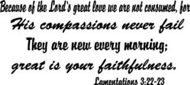 Lamentations 3:22-23, Vinyl Wall Art, Because o... - $9.79