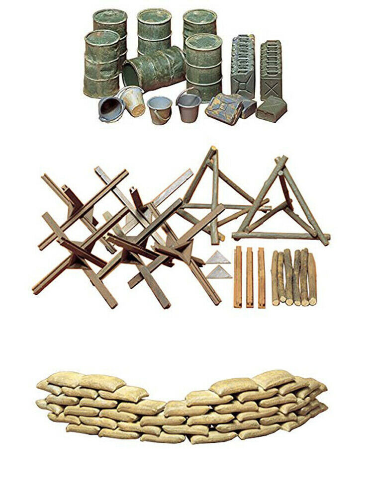 Primary image for 3 Tamiya Military Models - Sand Bags, Barricades, Oil Drums with Buckets