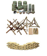 3 Tamiya Military Models - Sand Bags, Barricades, Oil Drums with Buckets - $24.74
