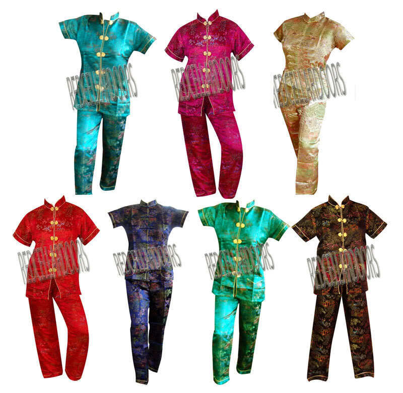 """New Womens 2 PC Set Gorgeous Chinese Pagoda Toile Pajamas SZ 5X SS Top 48"""" Chest"""